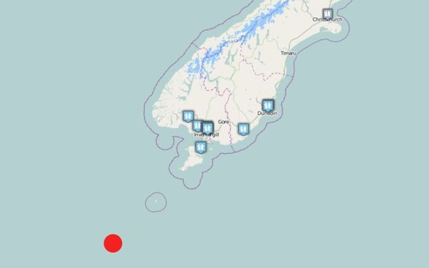 Map showing location of quake and of where the quake was felt.