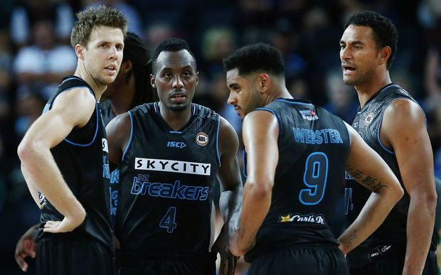 (L to R) Breakers stars Tom Abercrombie, Cedric Jackson, Corey Webster and Mika Vukona in their NBL game vs Townsville Crocodiles, Vector Arena, Auckland, 29 January 2016. Photo: Anthony Au-Yeung / www.photosport.nz