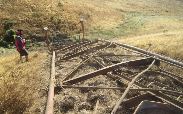 The Titahi Bay transmission mast felled by explosives.