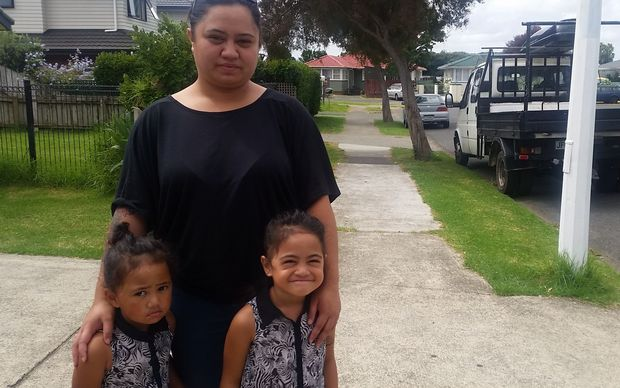 Maria Panapa with daughters, Zaraiyah-May, left, and Xzandra-Leigh in the Mangere street where a brawl broke out.