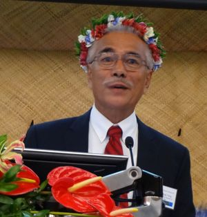 President of the Republic of Kiribati, Anote Tong, addressing the Pacific Climate Change Conference.