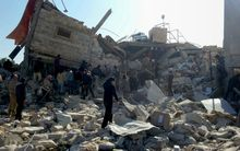An image released by Medecins Sans Frontieres (MSF) of a hospital hit by air strikes.