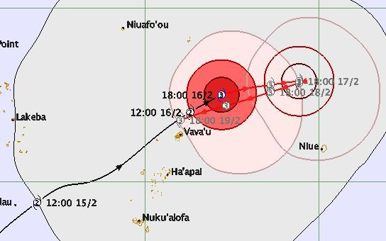 Cyclone Winston forecast track