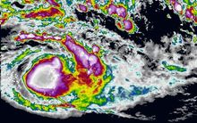 Satellite images of Cyclone Winston.