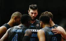 Centre Alex Pledger in a huddle with his Breakers team during their game against Melbourne United,  2015/16 ANBL, North Shore Events Centre, Auckland, 12 February 2016. Photo: Anthony Au-Yeung / www.photosport.nz