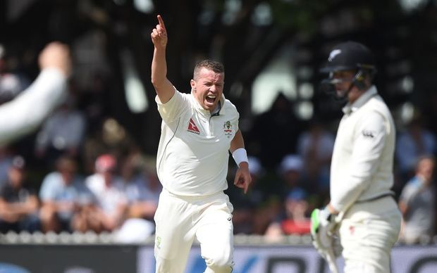Peter Siddle celebrates the dismissal of Henry Nicholls, Basin Reserve, Wellington. Friday 12 February 2016. Copyright photo: Andrew Cornaga / www.photosport.nz