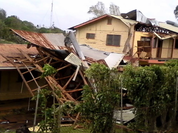 Damage in Vava'u after Cyclone Winston