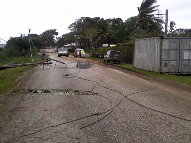 Power lines down after Cyclone Winston hit Vava'u