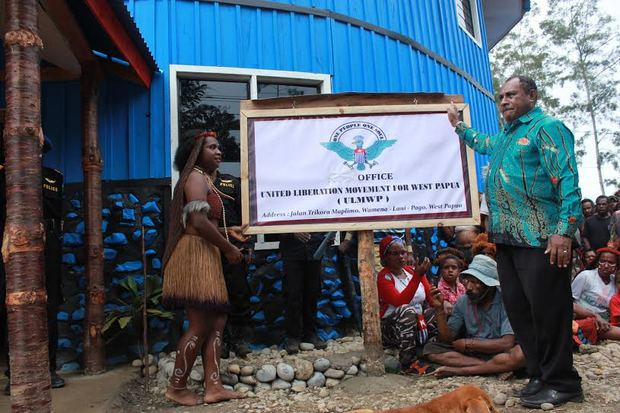 The United Liberation Movement for West Papua was forced to remove this sign by Indonesian authorities in Papua.