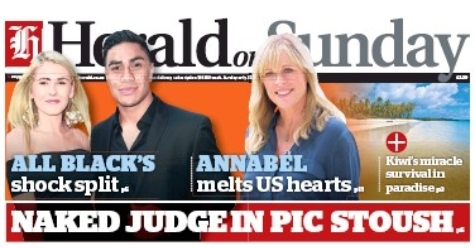 "photo of Herald on Sunday headline ""NAKED JUDGE IN PIC STOUSH"""