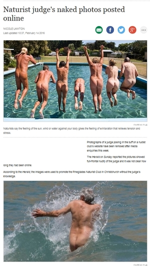 Stuff.co.nz helps readers visualise nudists in its version of the 'nude judge' story.