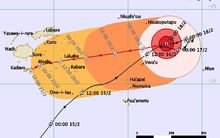 Tracking map for Tropical cyclone Winston