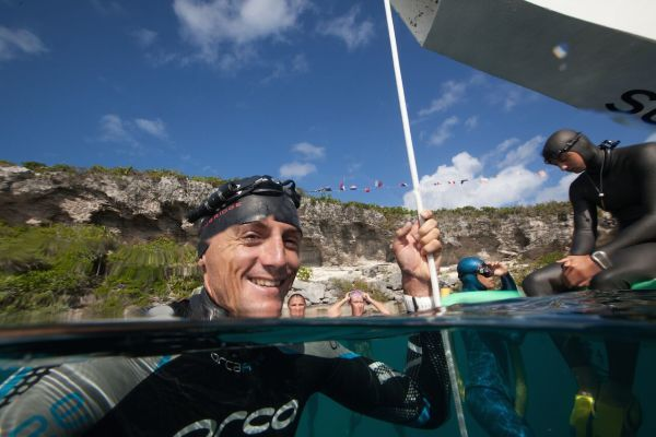 NZer Will Trubridge after a 120m Free Immersion dive at Vertical Blue 2014