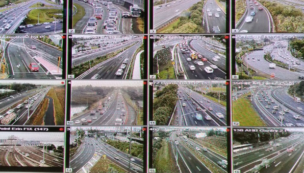 Traffic cams at Auckland Transport control centre as the city is hit by a bus strike.