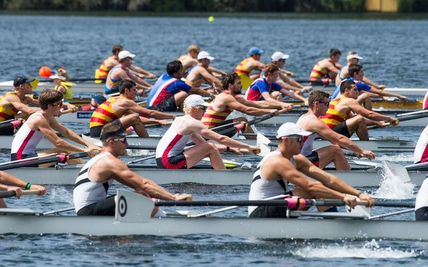Rowers on Lake Karapiro on the first day of the 2016 championships.