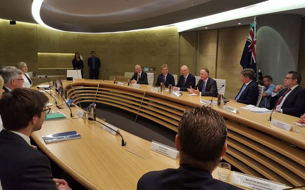 John Key, speaking, at right, as the meeting with Australian Prime Minister Malcolm Turnbull begins.