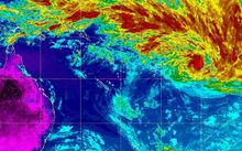An infrared satellite picture of cyclone Winston (red) as it nears Fiji.