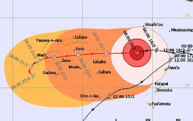 This forecast map from the Fiji Meteorological Service shows cyclone Winston maintaining its category five strength as it passes across the main island, Viti Levu.