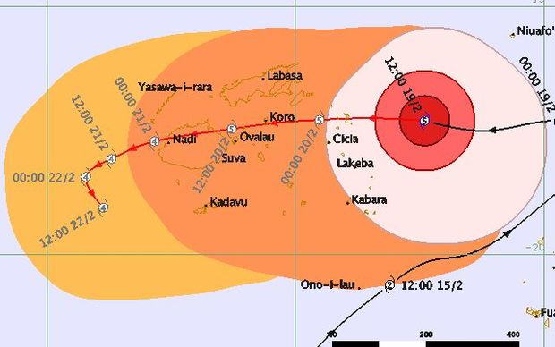 Tracking map for Tropical cyclone Winston.