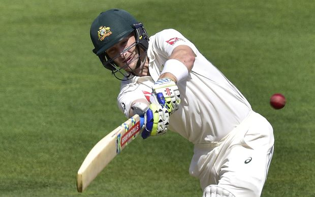 Adam Voges plays a shot during the first cricket Test match between Australia and New Zealand