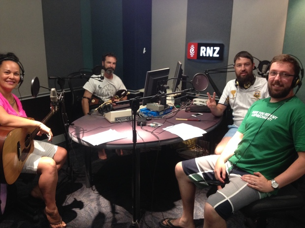 Beneath the Words at RNZ. From left, Morgana James, Peter Egli, Anand Rose, Adrian Whelan