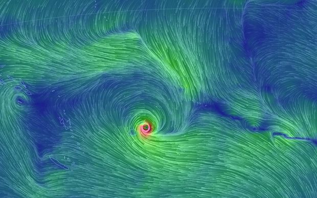 The high winds generated by Cyclone Winston over Fiji can be seen on this global wind map.