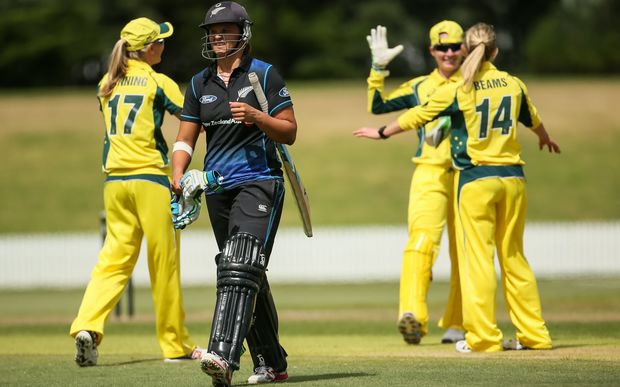 White Ferns captain Suzie Bates departs after her dismissal.