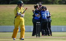 The White Ferns celebrate their victory in the 1st match of the Rose Bowl ODI series.