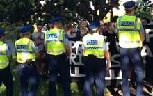 Police are preventing around 50 protesters joining the Auckland Pride Parade.