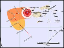 Tropical Cyclone Winston's predicted path