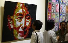 Art on display in Yangon,Myanmar, in celebration of the River Gallery's 10th anniversary.