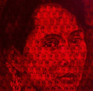 The portrait of NLD leader Aung Sang Suu Kyi has tiny portraits of her father stamped all over the image.