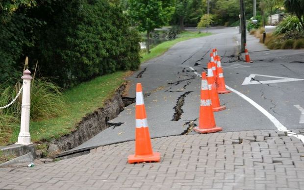Road damage near the Avon River following the February quake.