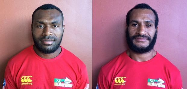 Papua New Guinea Hunters co-captains Noel Zeming and Adam Korave.