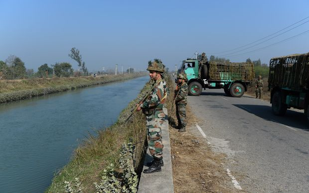 Indian security forces secure the Munak canal, which supplies water to New Delhi.