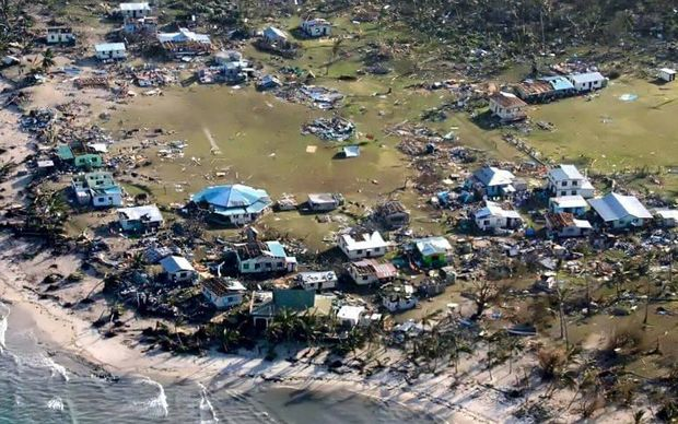 Destruction on Yacata island following Cyclone Winston