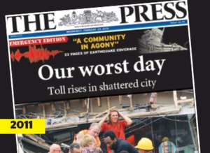 picture of the front page of The Press 'Emergency Edition' on 23rd of Februray 2011