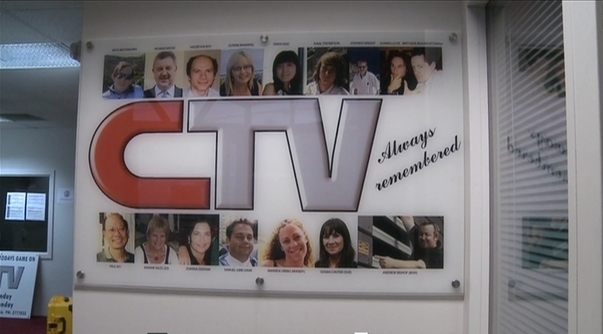 Picture of memorial to those who died in CTV's former building in 2011