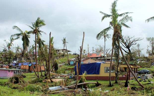 Damaged buildings in Rakiraki after Cyclone Winston hit Fiji.