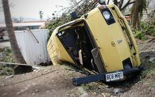 In Rakiraki the cyclone flipped a van and slammed it into the ground