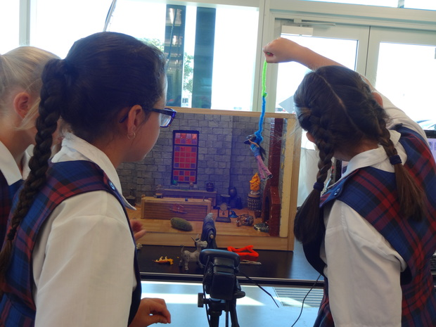 St Theresa pupils design their own sets to turn their stories into short animated movies.