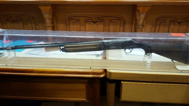 The shotgun found on Mr Tully when he was arrested which is different to the one used in the shooting.