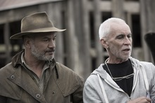 Lee Tamahori and Temuera Morrison on the set of Mahana