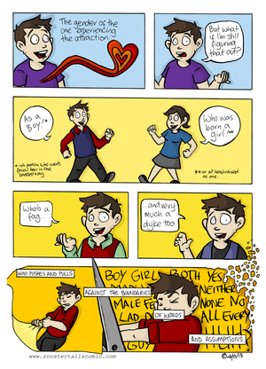 A comic strip by Sam Orchard explains the complications of dating and being gender queer.