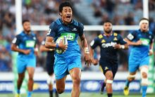 Melani Nanai scores a try during The Blues v Highlanders Super Rugby match.