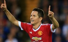 Ander Herrera of Manchester United celebrates scoring a goal.
