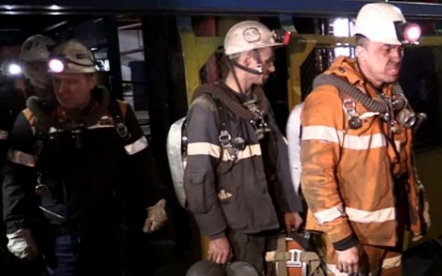 Rescuers at the Severnaya coal mine in Vorkuta, Russia. Thirty six people are presumed dead after an explosion.