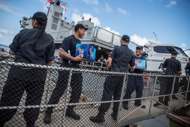 HMNZS Wellington being loaded with aid in Fiji post Cylone Winston