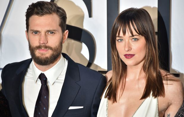Jamie Dornan, left, and Dakota Johnson at the the UK Premiere of Fifty Shades of Grey. 12 February, 2015.