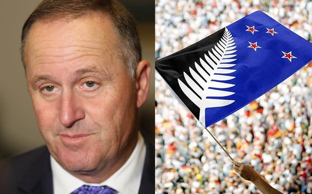 A composite image of Prime Minister John Key and the alternative New Zealand flag designed by Kyle Lockwood.